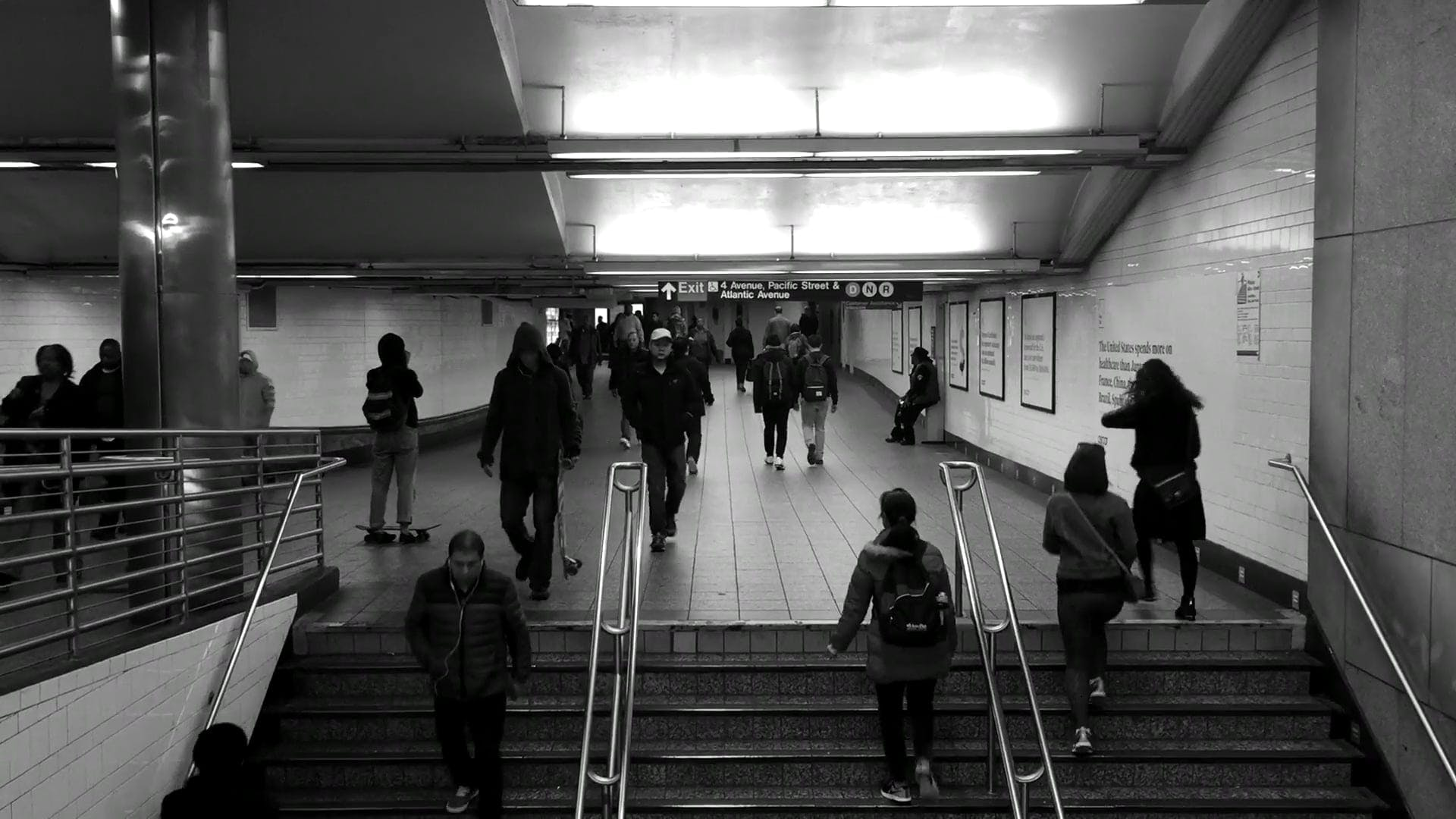 Black And White Footage Of Train Station