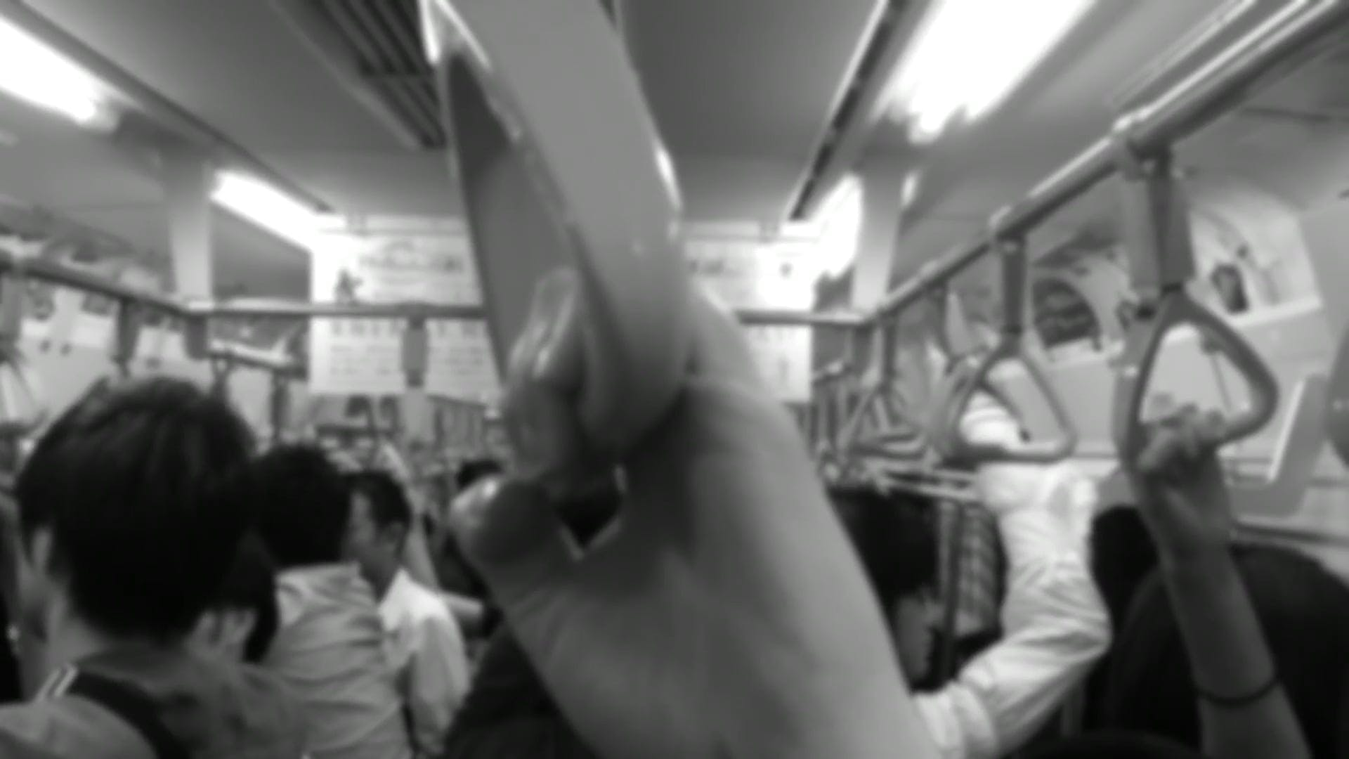 Black And White Video Of People Inside The Train