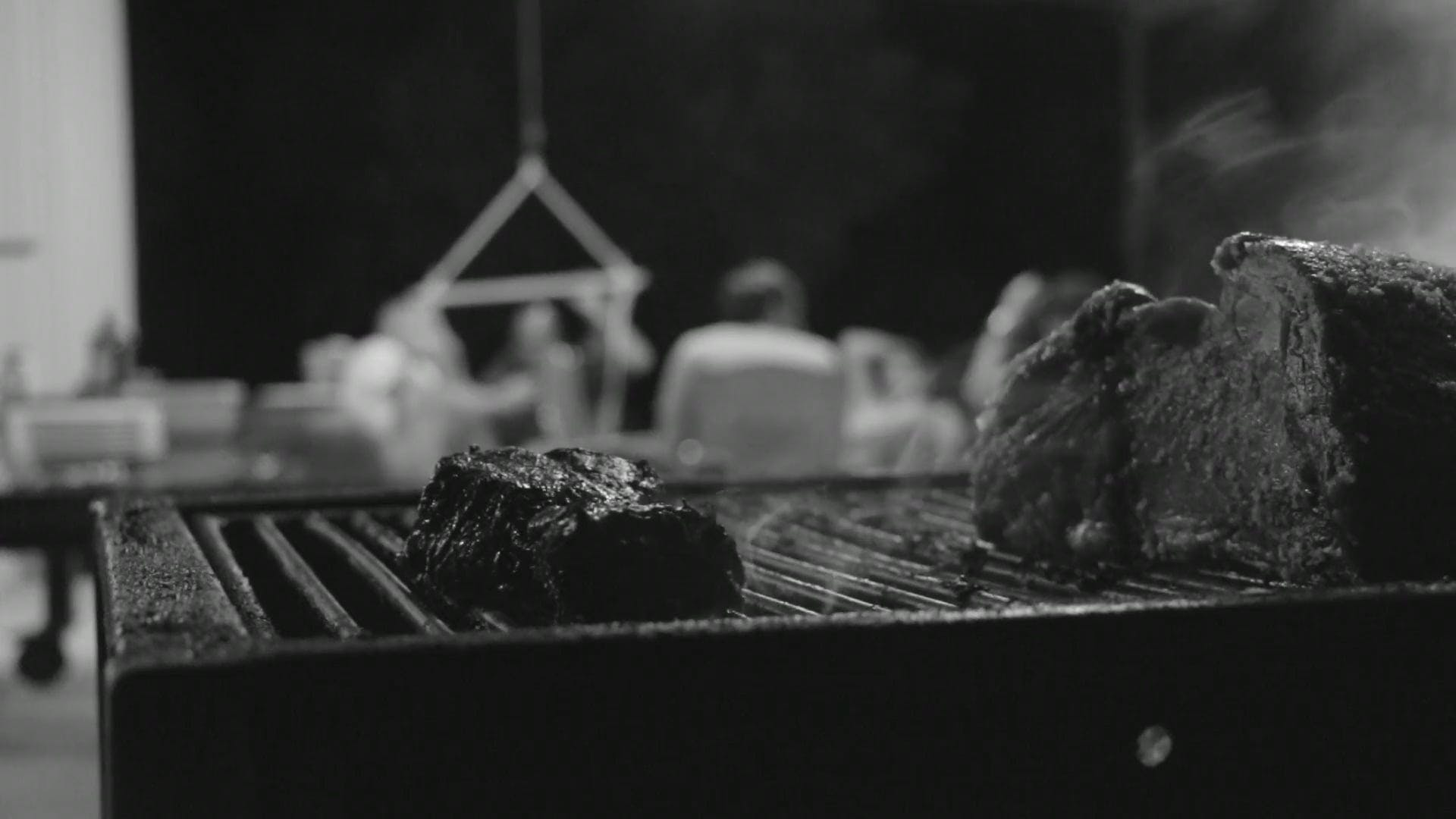 Black And White Video Of Food Grilling