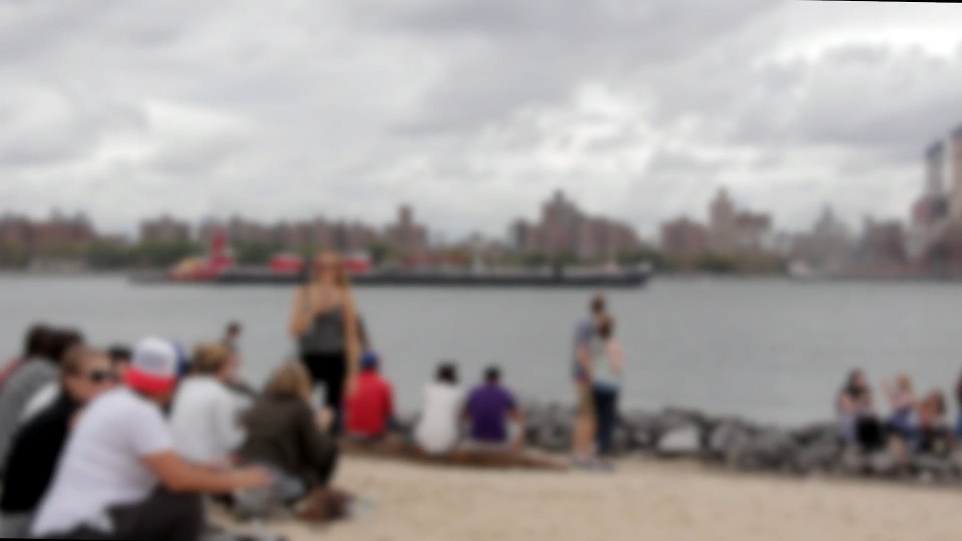 Blurry Footage Of People Near River