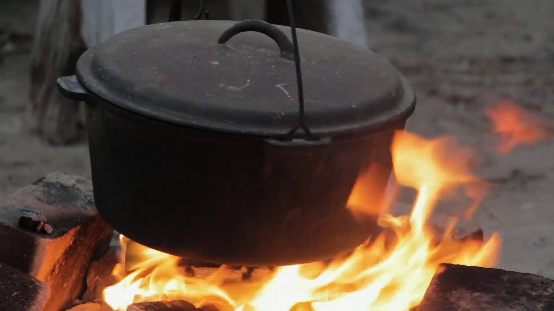 Black Pot On Fire