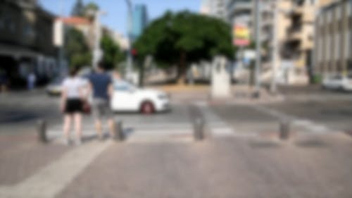Blurred Video Of People Crossing Street