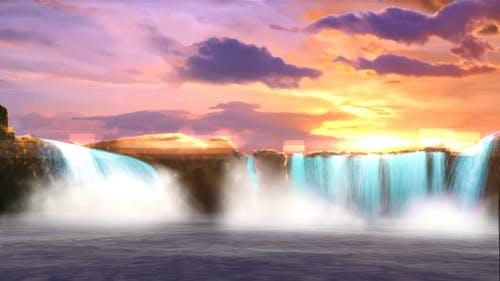 Time Lapse Video of Waterfalls During Golden Hour