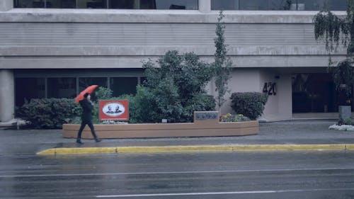 Woman Walking Around in the Rain