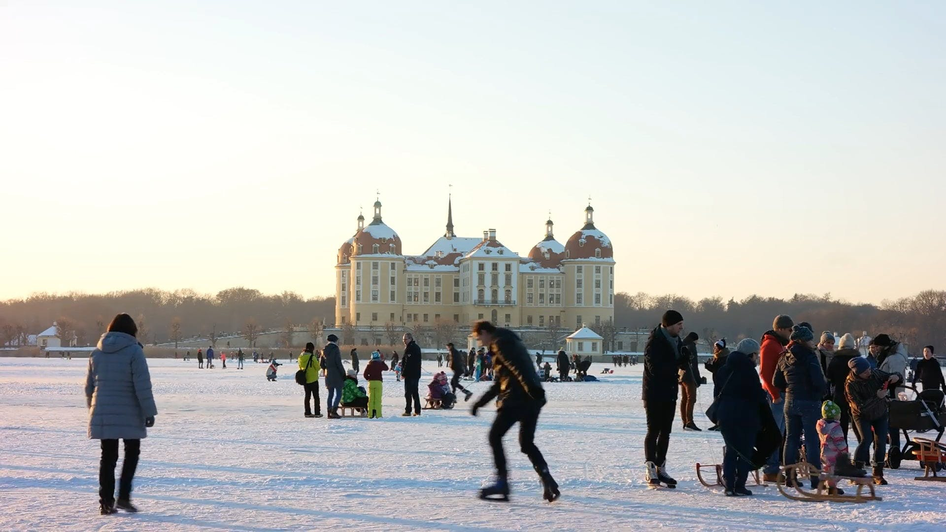 People Enjoying The Winter Snow