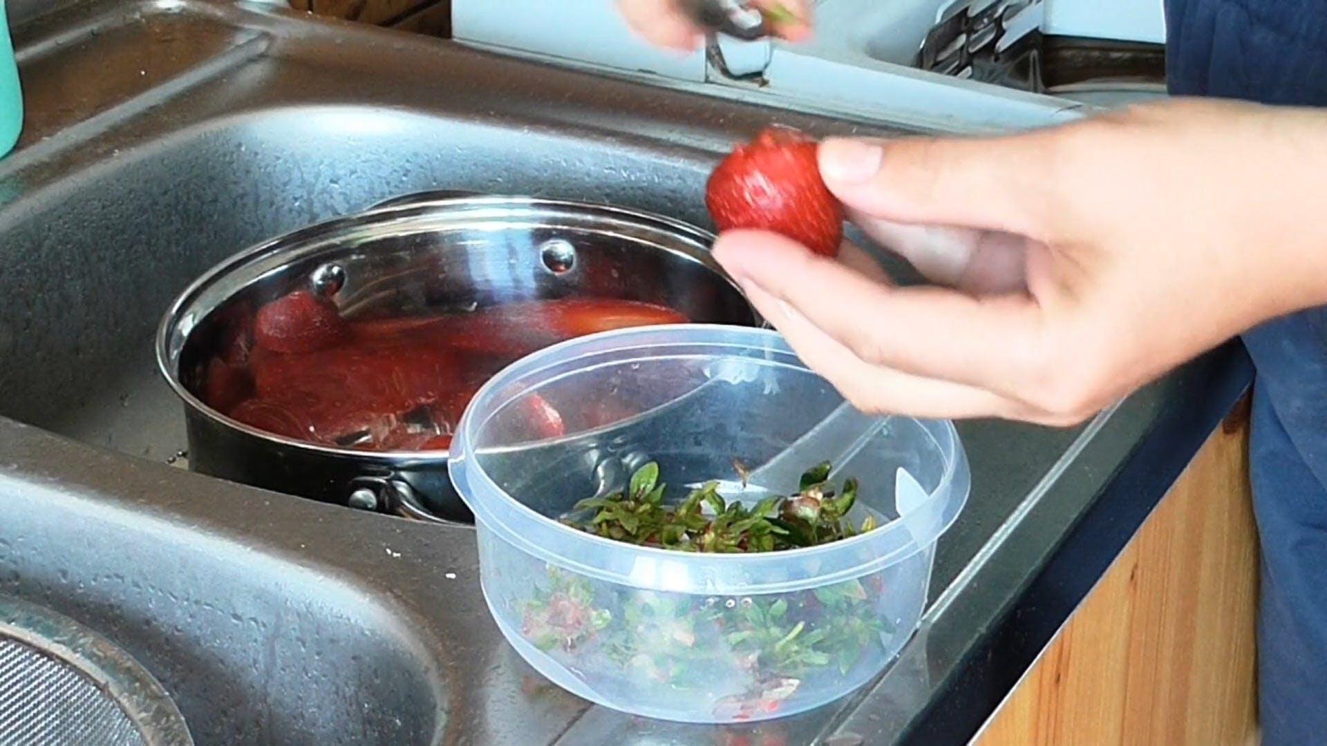 Removing Strawberry Stem