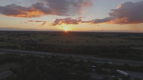 Drone Footage of a Highway at Sunset