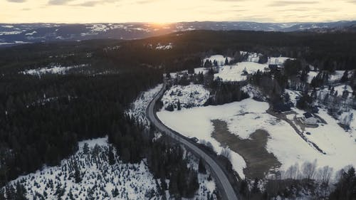 High Angle Shot Video Of Snowy Field