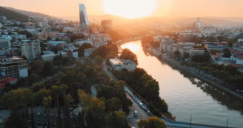 Aerial Shot of City View During Sunset