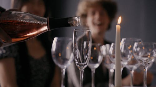 Close up of Wine Being Poured in a Glass