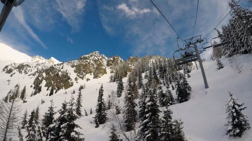 Close-up Footage of a Ski Lift on a Snow Covered Mountain