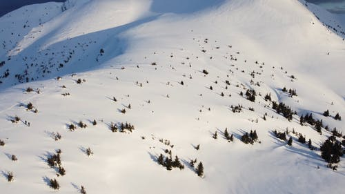 Drone Footage of Snow Capped Mountains