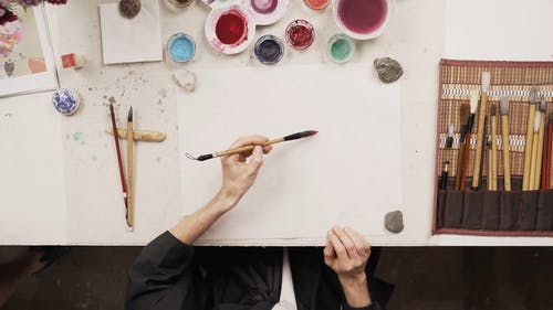 A Person Painting Using a Paintbrush