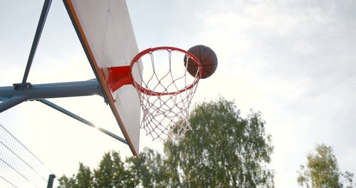 Low-Angle Shot of a Basketball Ring