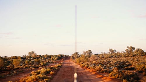 Driving on an Unpaved Road During Sunset
