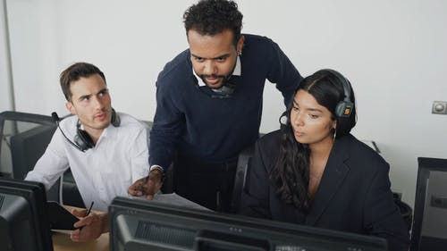 People Working Together at a Call Center