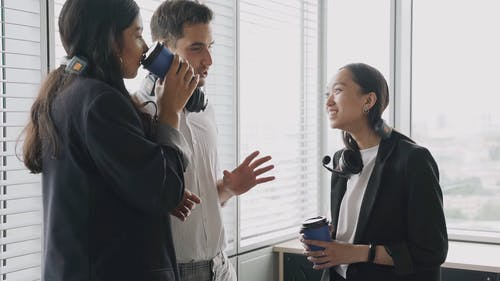 Call Center Agents Talking during their Break
