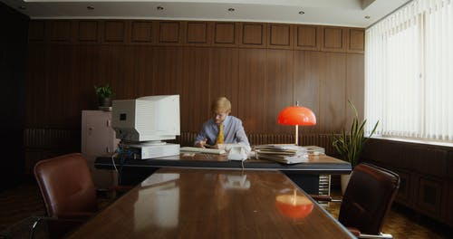 A Man Working at an Office
