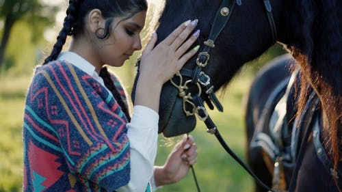 A Woman Touching a Black Horse