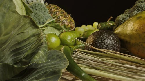 Push in Shot of Green Colored Fruits and Vegetables