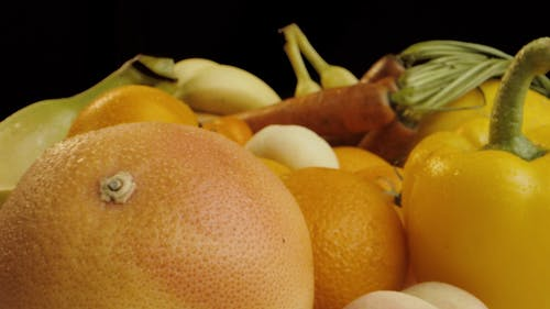 Push in Shot of a Variety of Fruits and Vegetables