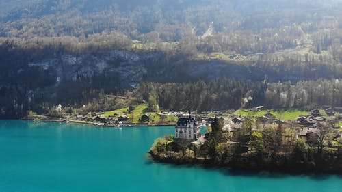 Drone Footage of Iseltwald Castle on Lake