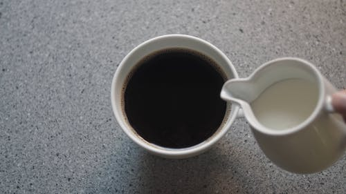 Overhead Shot of Milk Being Poured into Coffee