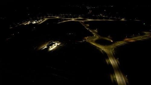 Drone Footage of a Road System at Night