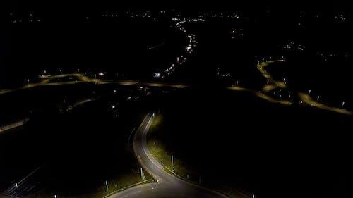 Drone Footage of Night Traffic