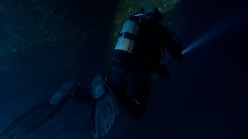 A Scuba Diver Underwater