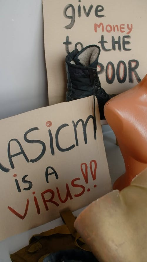 Racism Written on a Placard