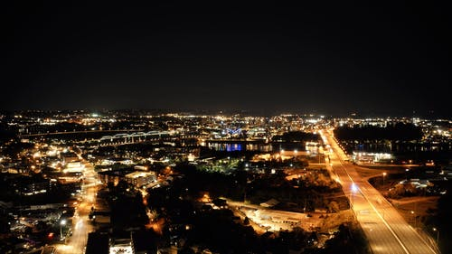 Aerial Footage of a City at Night