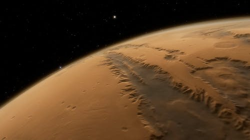3D computer animation of planet Mars
