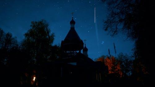 Time lapse of church at night