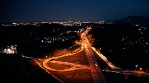 Drone Footage of a Highway at Night