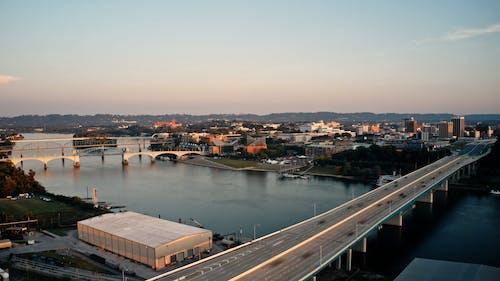 Aerial view on traffic on bridge