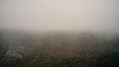 Clouds covering view on forests below
