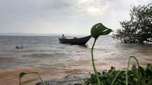A Man Paddling to Shore