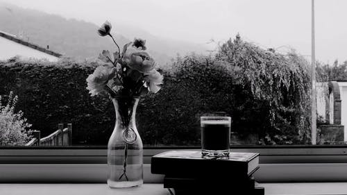 Black and White Vase and Glass